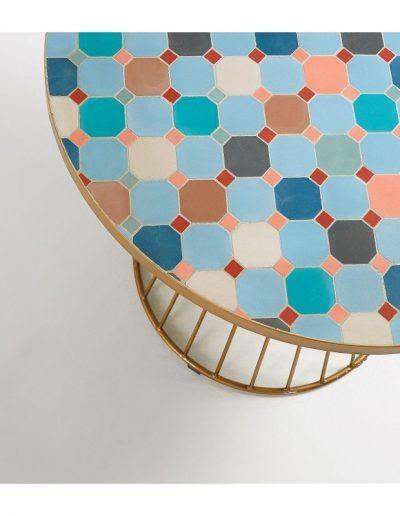 Mesa Elsa Ø 90 cm azulejos multicolor acero dorado