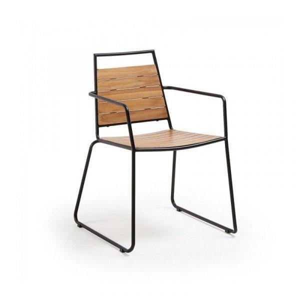 Sillon Komfort madera teca y metal negro