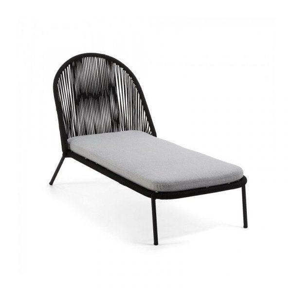 Chaise longue Stad metal negro cuerda negro