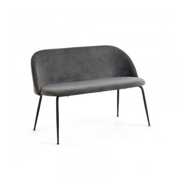 Banco - Sofá Mystere 2 plazas metal negro terciopelo gris